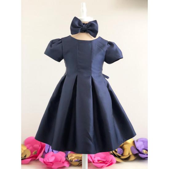Официална бебешка рокля от сатен в тъмно синьо Piccole