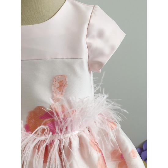 Детска рокля на цветя с пера