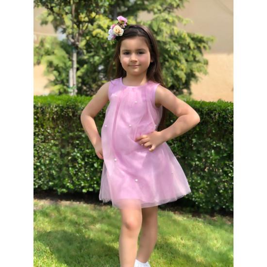 Лятна рокля с перли в розово Piccole