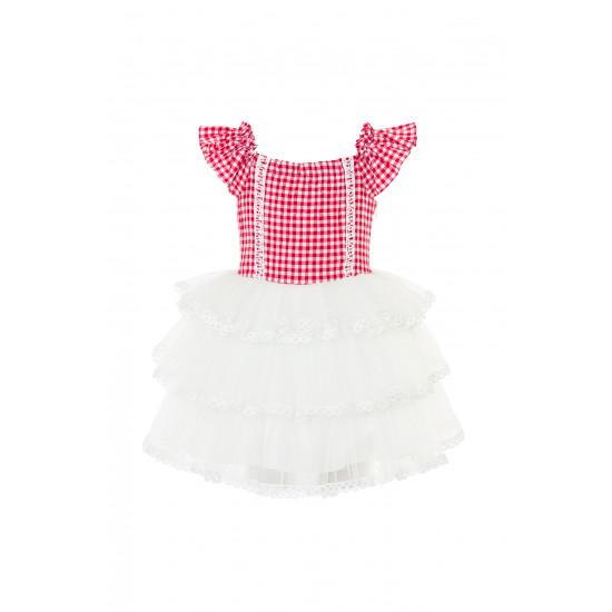 """Детска рокля в червено каре """"Country"""""""